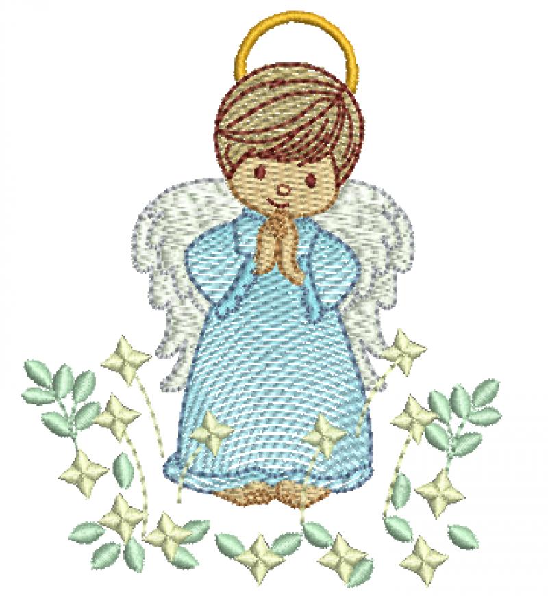 Anjo Orando com Ramo de Estrelas - Rippled