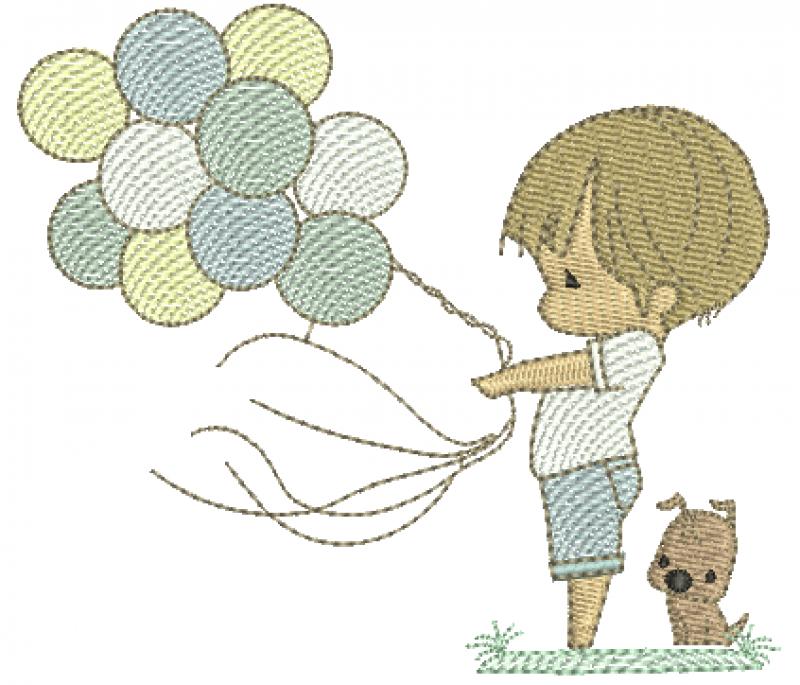 Menino Cute Segurando Balões - Rippled