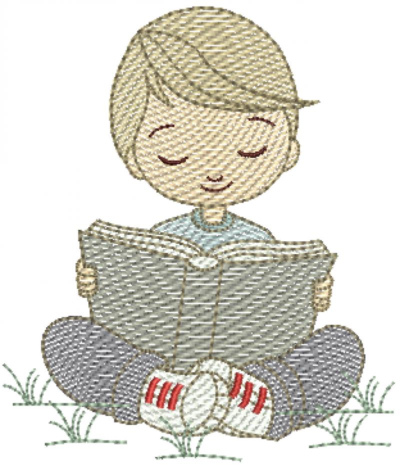 Menino Escolar Sentado com Livro - Rippled