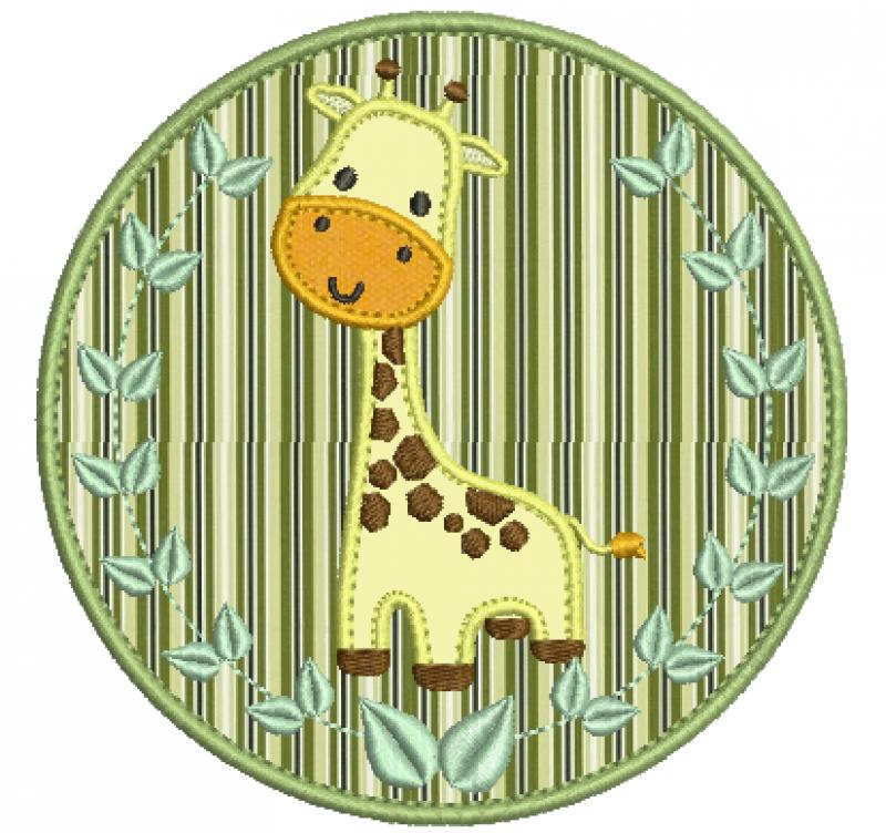 Safari em Moldura Com folha e Girafa Aplique