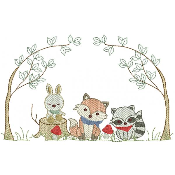 Animais na Floresta e Árvores - Pontos Leves