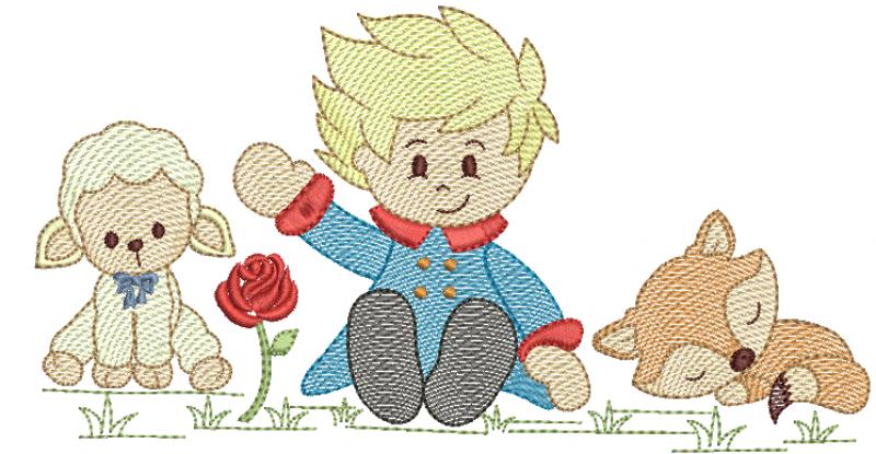 Pequeno Principe Sentado com Raposa e Ovelha - Rippled