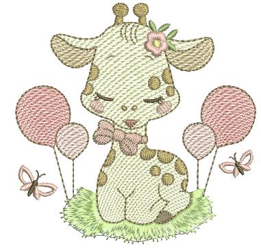 Girafa Menina com Bexigas - Rippled
