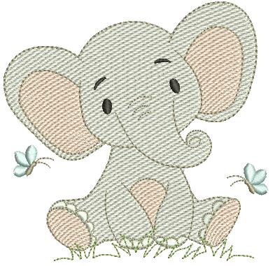Elefante e Borboletas - Rippled