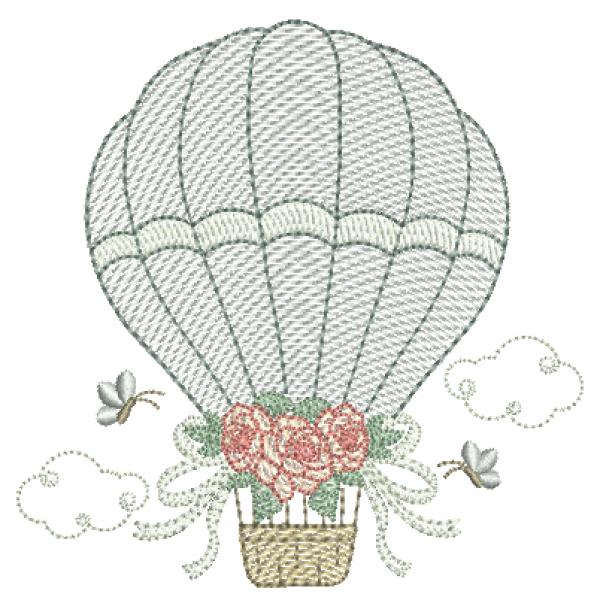 Balão com Rosas e Laços - Pontos Leves