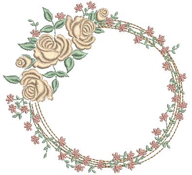 Moldura com Rosas e Ramos Delicados - Ponto Cheio