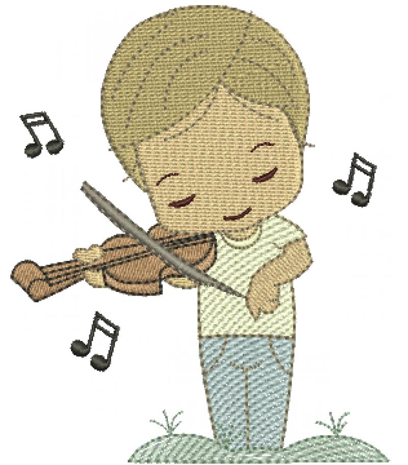 Menino Cute Tocando Violino - Rippled