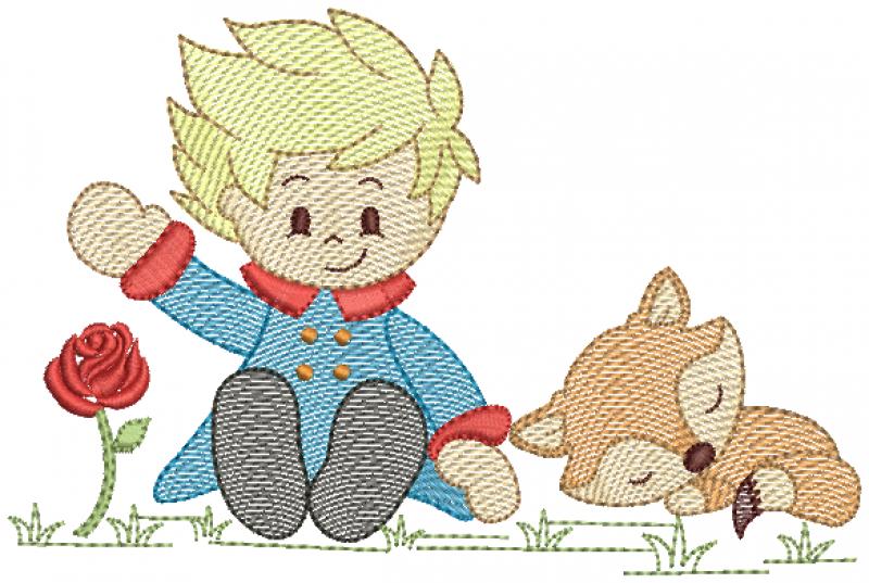Pequeno Principe Sentado com Raposa- Rippled