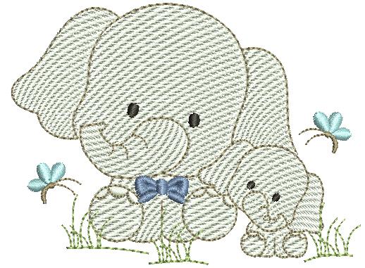 Elefante e Filhote - Rippled