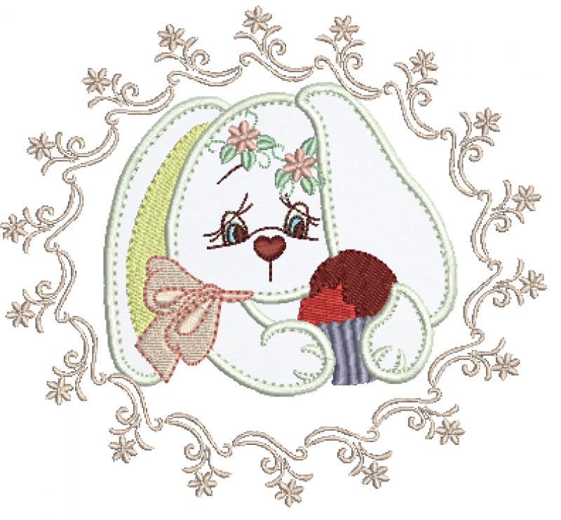 Coelha na Moldura Segurando Ovinho - Aplique