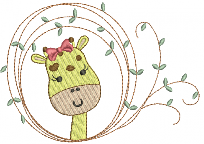 Girafa Menina na Moldura com Folhas - Ponto Cheio