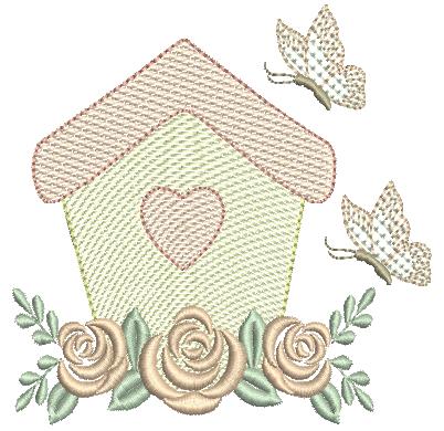 Casa com Borboleta e Rosas - Rippled