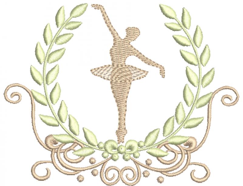 Arabesco com Coroa de Louros e Bailarina - Ponto Cheio e Rippled