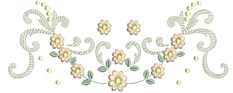 Raminho com Flores em Ponto Cheio e Arabescos em Rippled