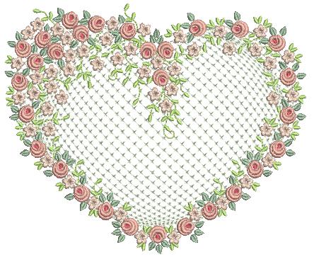 Coração com Raminho de Flores – Ponto Cheio e Crivo
