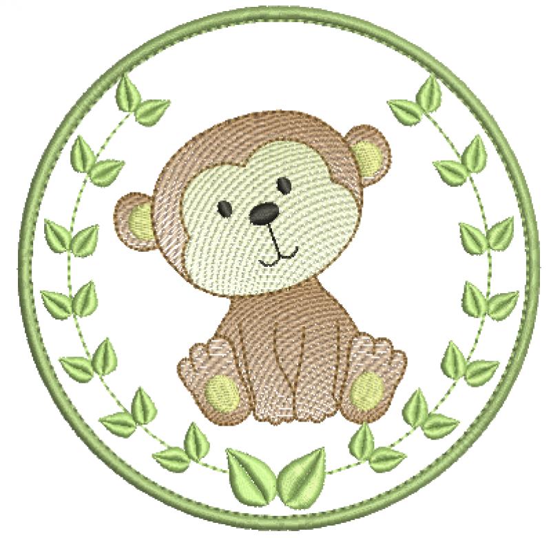 Safari em Moldura Com folha e Macaco Rippled