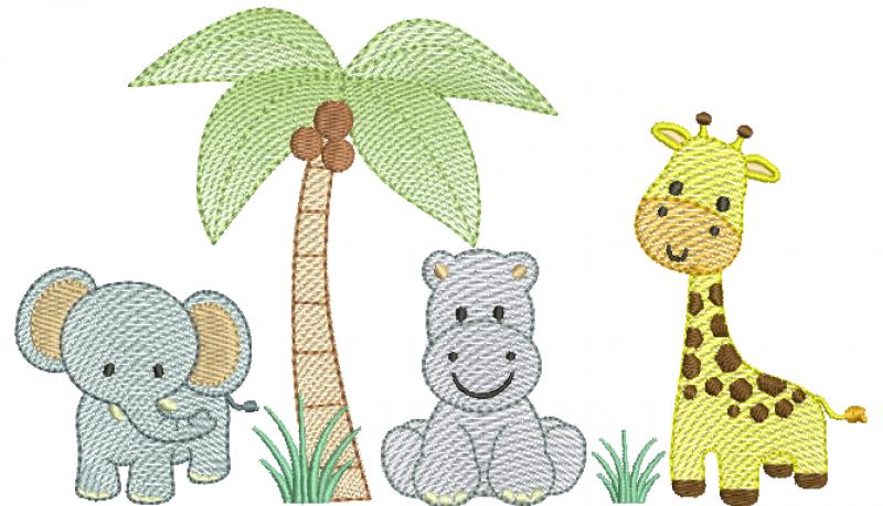 Trio Safari de Elefante, Hipopótamo e Girafa - Rippled