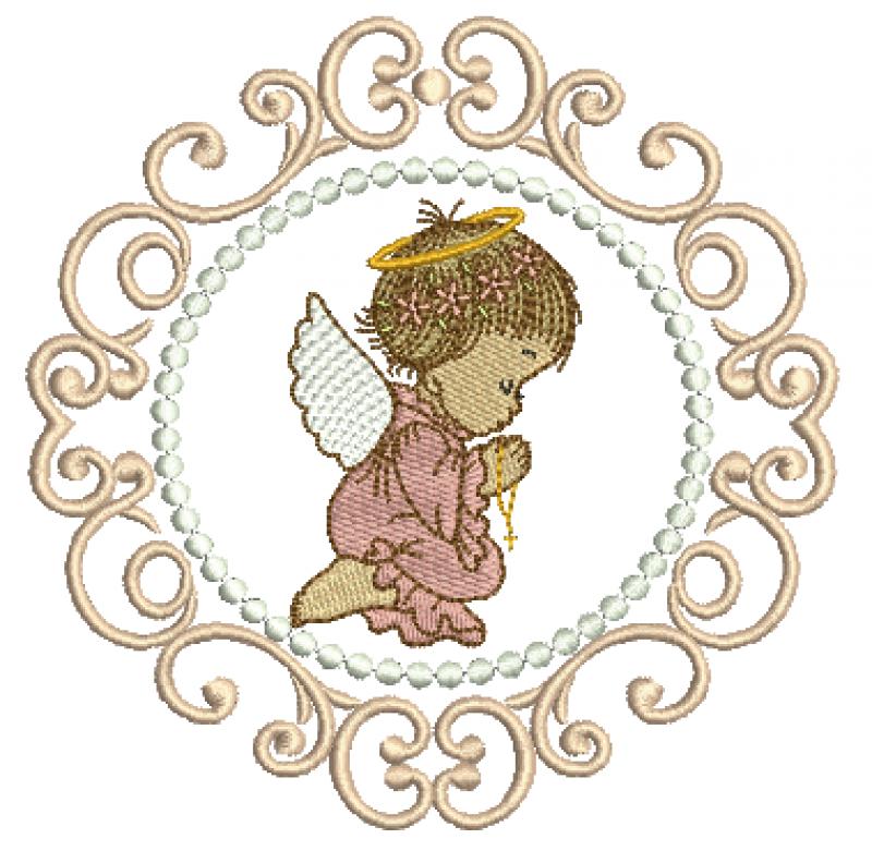 Anjo Menina Orando na Moldura - Ponto Cheio