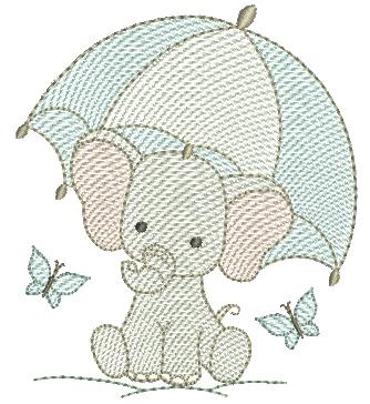 Elefante Segurando Sombrinha - Rippled