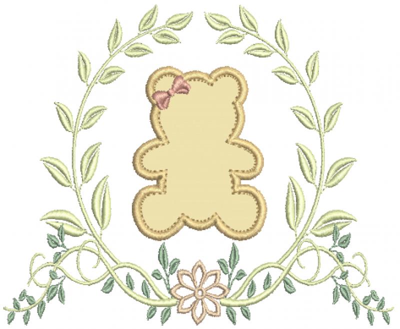 Ramo com Flor e Ursa em Aplique