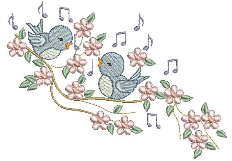 Passarinhos no Galho com Florzinhas - Ponto Cheio