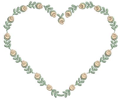 Coração com Rosinhas Estilo Rococó