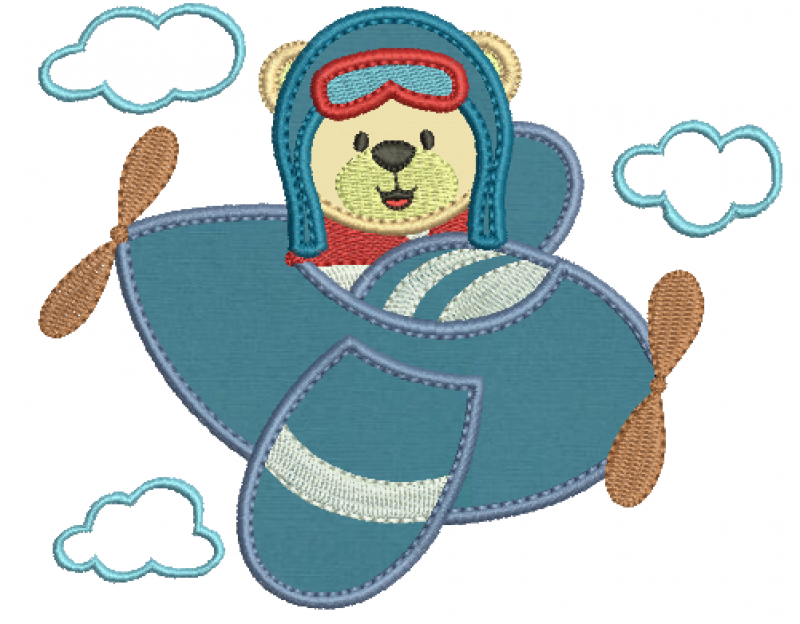 Urso Aviador com Nuvens - Aplique