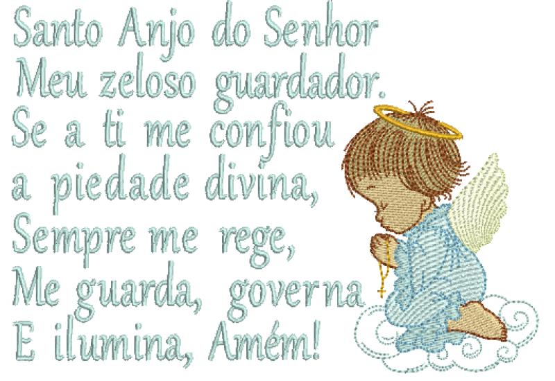 Anjo Orando em Rippled com Oração Santo Anjo