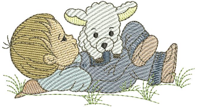 Menino Deitado com Ovelha - Rippled