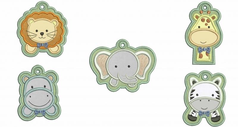Pacote com 5 Chaveiros de Safari Menino - Aplique
