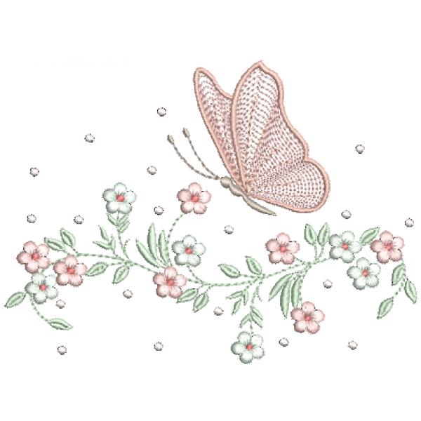 Borboleta e Galho Florzinhas 2 - Ponto Cheio e Rippled