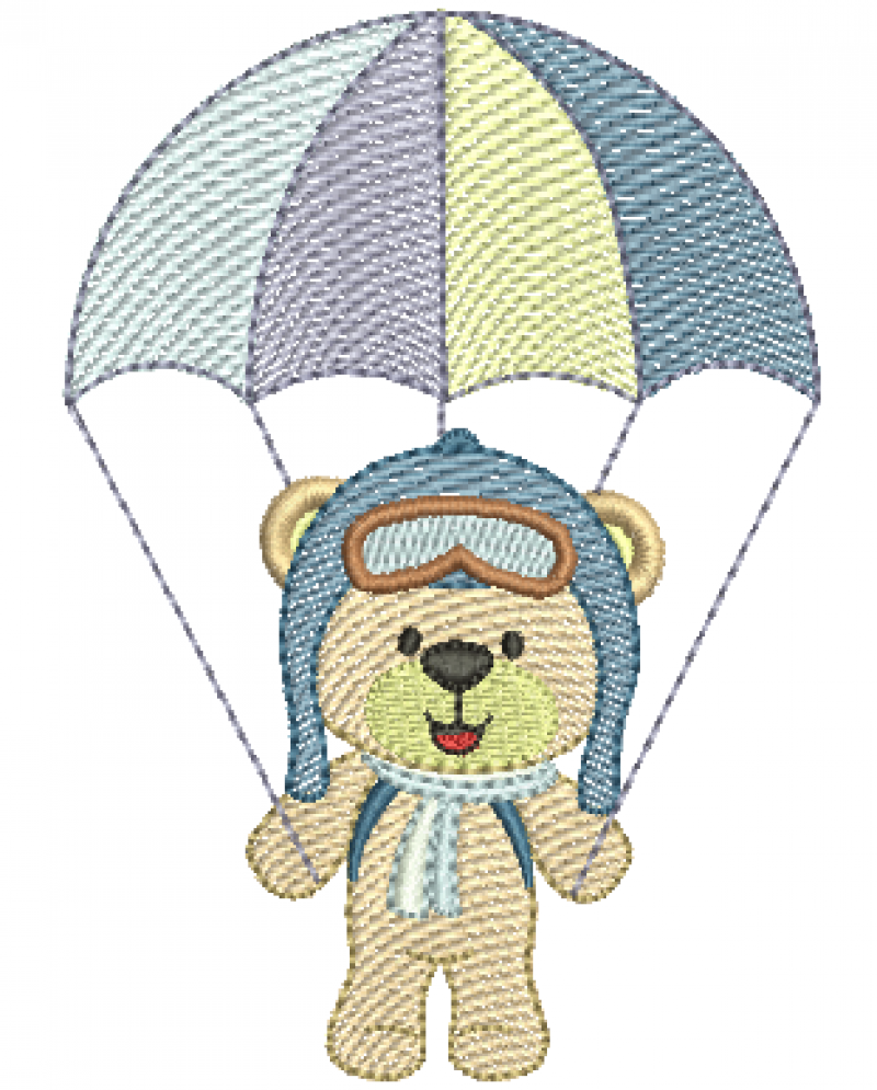 Urso Aviador com Paraquedas - Rippled