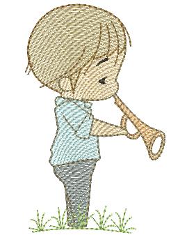 Menino Cute com Trompete - Rippled