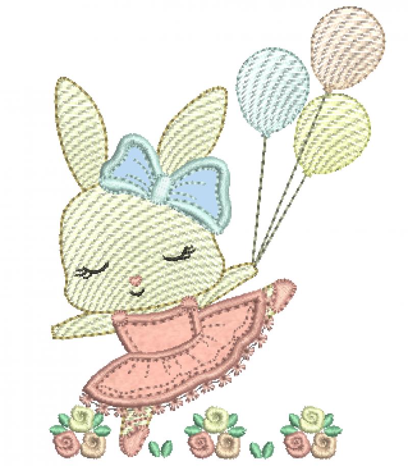 Coelha com Laço Segurando Bexigas - Aplique