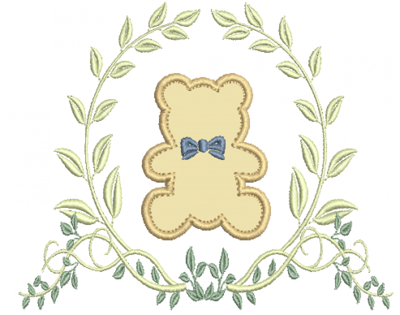 Ramo com Flor e Urso em Aplique