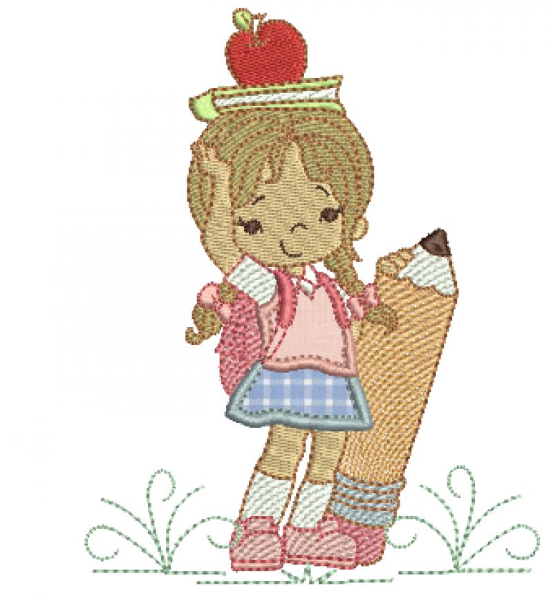 Menina com Mochila e Cadernos - Aplique