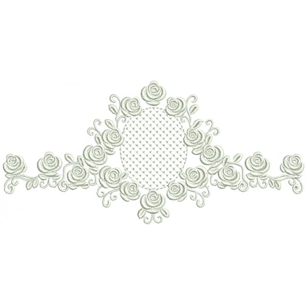 Rosas e Moldura Crivo Cor Única - Ponto Cheio