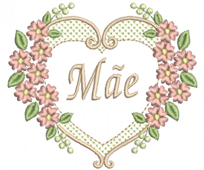 Moldura Coração e Flores - Ponto Cheio
