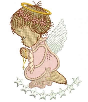Anjo Menina Orando com Estrelas - Aplique