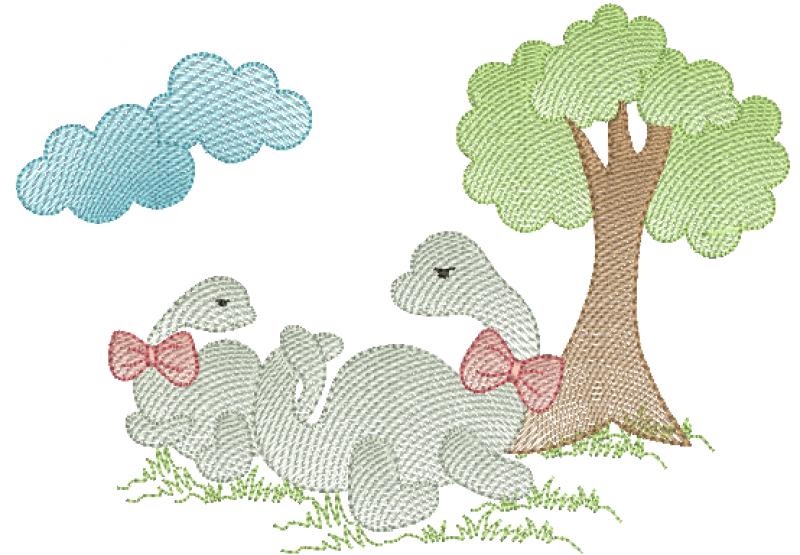Dinossauros Mãe e Filhote - Ponto Rippled
