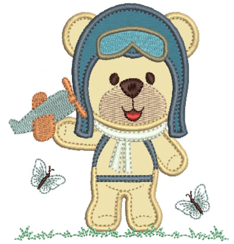 Urso Aviador Segurando Avião - Aplique