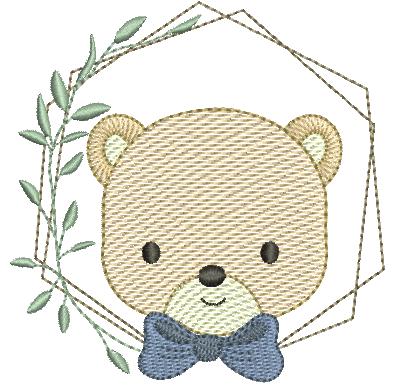 Urso com Laço e Moldura - Pontos Leves