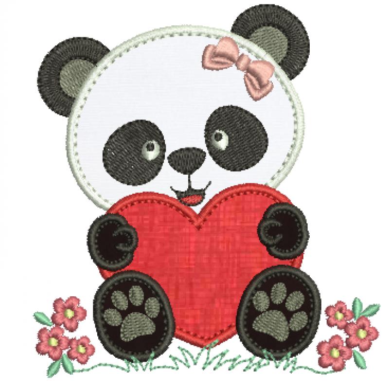 Ursa Panda com Coração - Aplique
