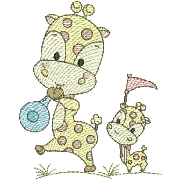 Girafa Menino e Filhote  - Pontos Leves