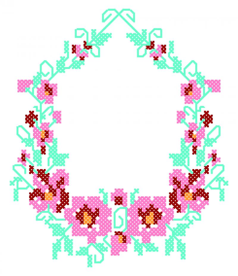 Guirlanda de Flores em Ponto Cruz