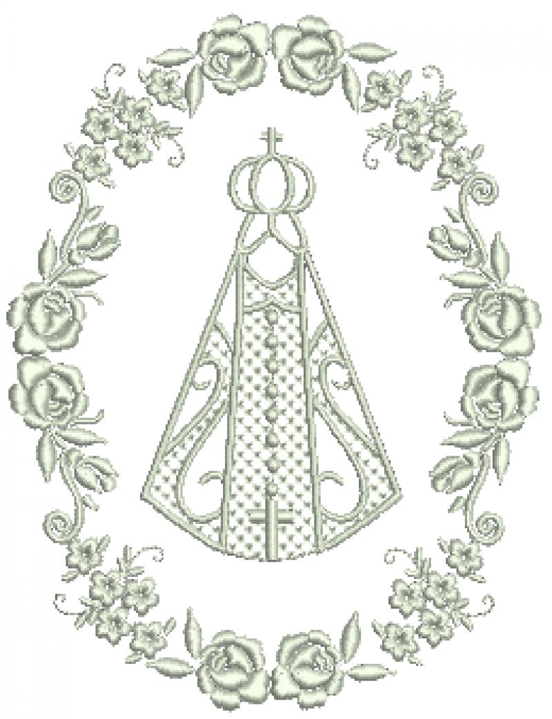 Nossa Senhora com Moldura e Flores Única Cor