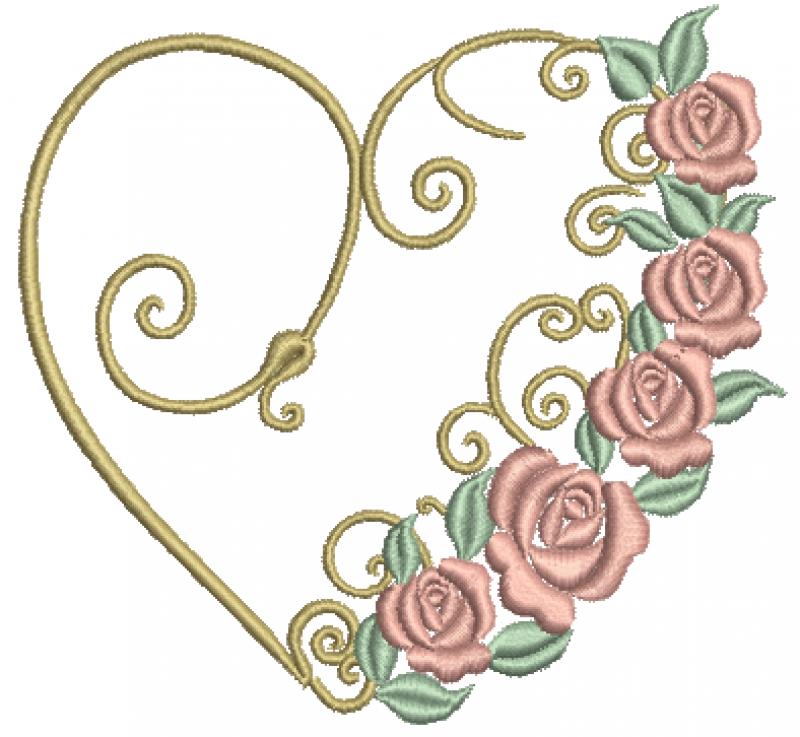 Coração com Flores – Ponto Cheio