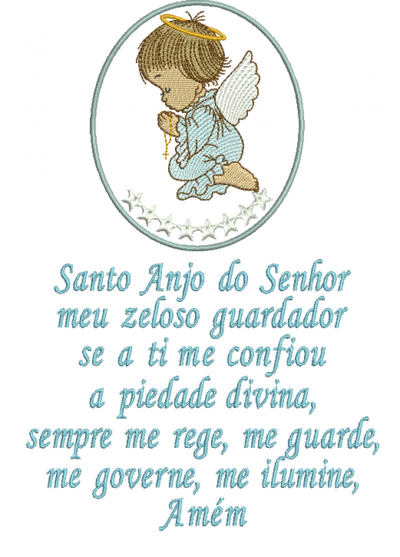 Anjo Orando na Moldura e Oração Santo Anjo.