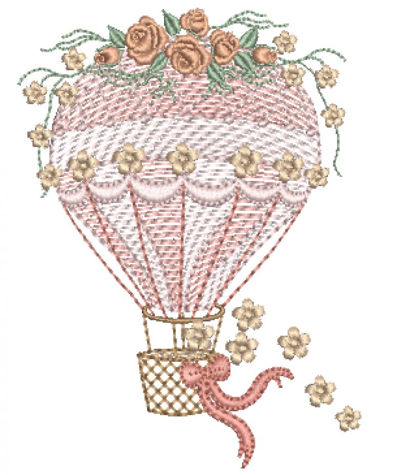 Balão com Ramo de Rosas - Rippled
