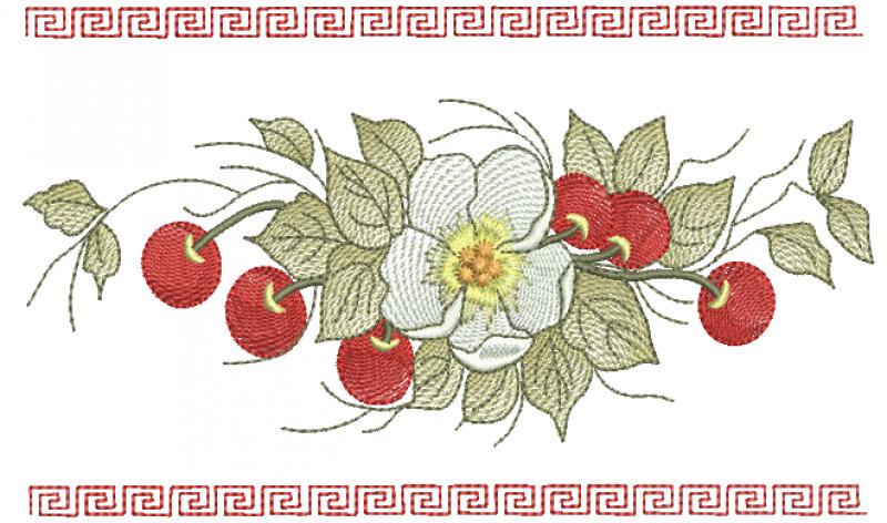 Ramo de Cerejas e Flor - Ponto Tatame